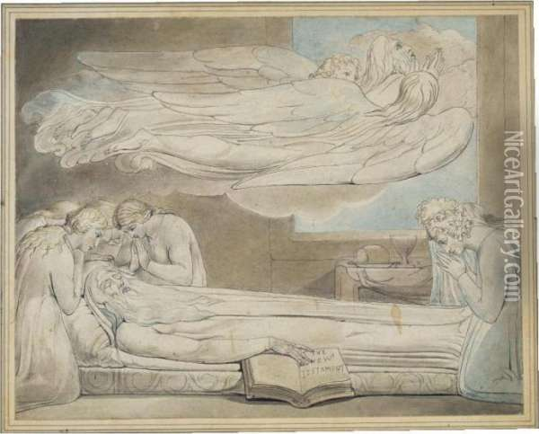 Death Of The Good Old Man Oil Painting - William Blake