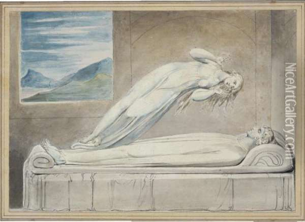 Soul Hovering Over The Body Reluctantly Parting With Life Oil Painting - William Blake