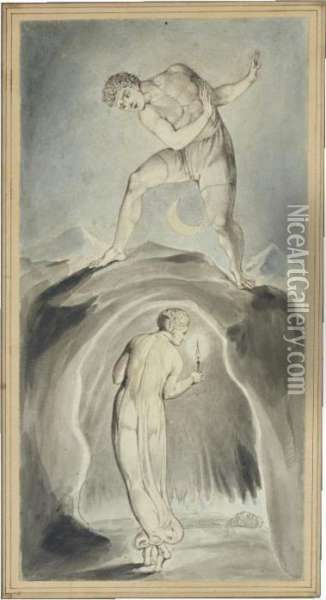 The Soul Exploring The Recesses Of The Grave Oil Painting - William Blake