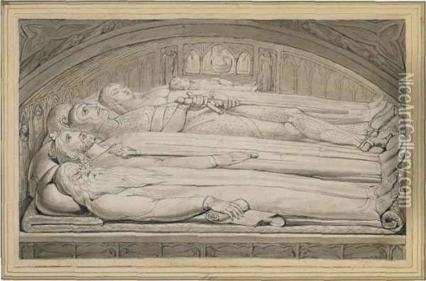 The Counseller, King, Warrior,  Mother & Child, In The Tomb (the Counsellor, King, Warrior, Mother  & Child) Oil Painting - William Blake