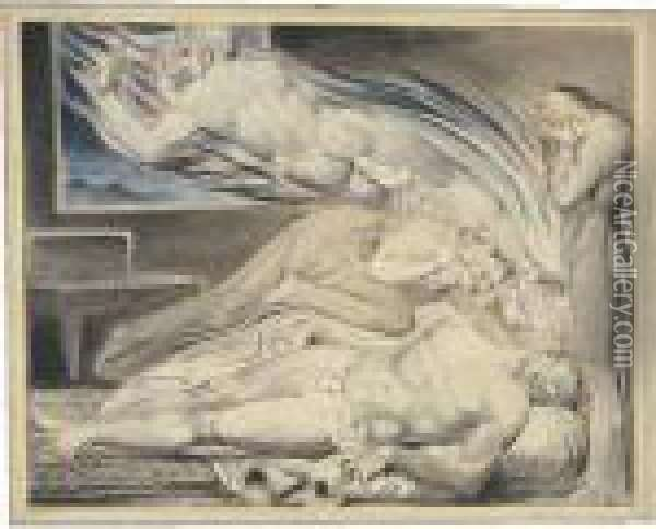 (the Strong Wicked Man Dying) Oil Painting - William Blake