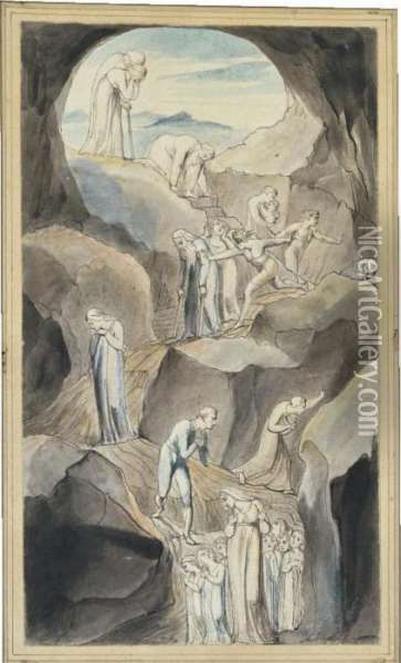 The Descent Of Man Into The Vale Of Death Oil Painting - William Blake
