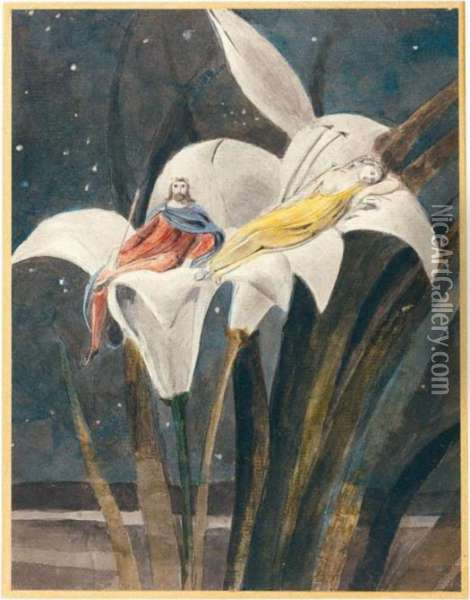Oberon And Titania On A Lily Oil Painting - William Blake