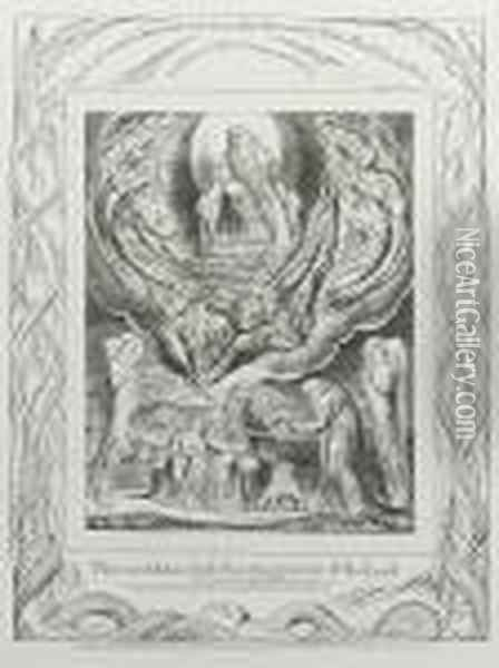 Then Went Satan Forth From The Presence Of The Lord, Plate V From Book Of Job Oil Painting - William Blake