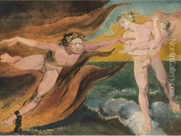 The Good And Evil Angels Struggling For Possession Of A Child Oil Painting - William Blake