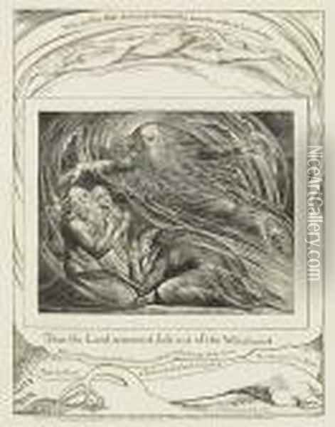 Then The Lord Answered Job Out Of The Whirlwind Oil Painting - William Blake