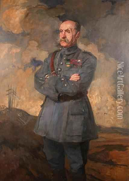 Portrait Of Marshall Foch Oil Painting - Jacques-Emile Blanche
