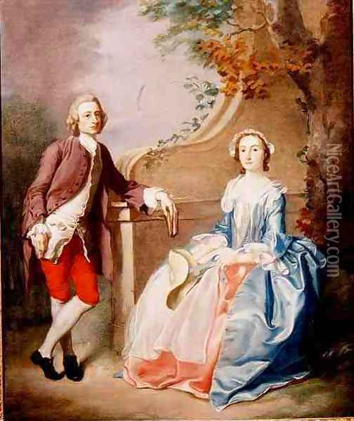 A Lady and Gentleman conversation piece Oil Painting - Francis Hayman