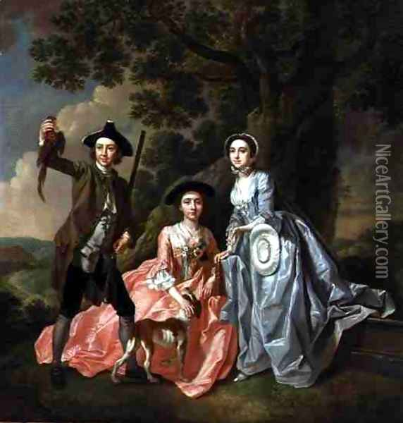 George Rogers with his Wife Margaret and his Sister Margaret Rogers Oil Painting - Francis Hayman
