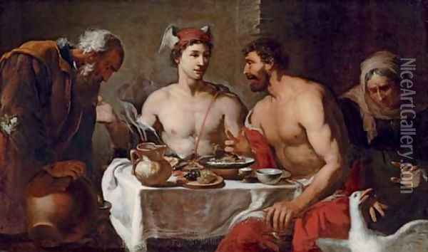 Jupiter and Mercury in the house of Philemon and Baucis Oil Painting - Johann Heiss