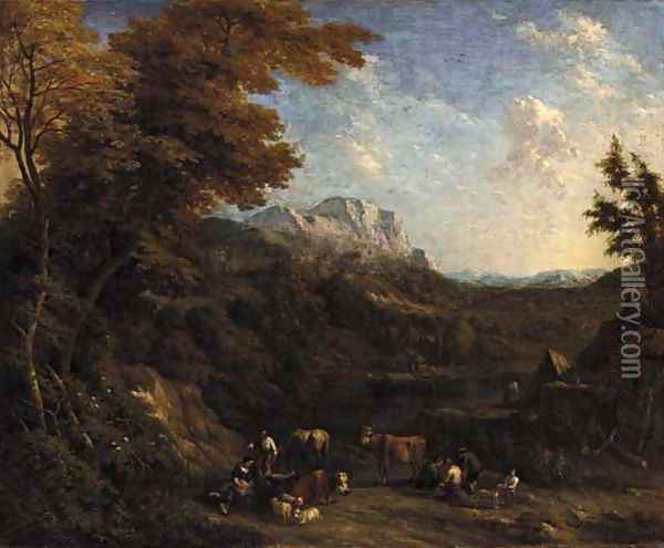 A wooded landscape with peasants and their livestock resting by a river Oil Painting - Jacob Huysmans
