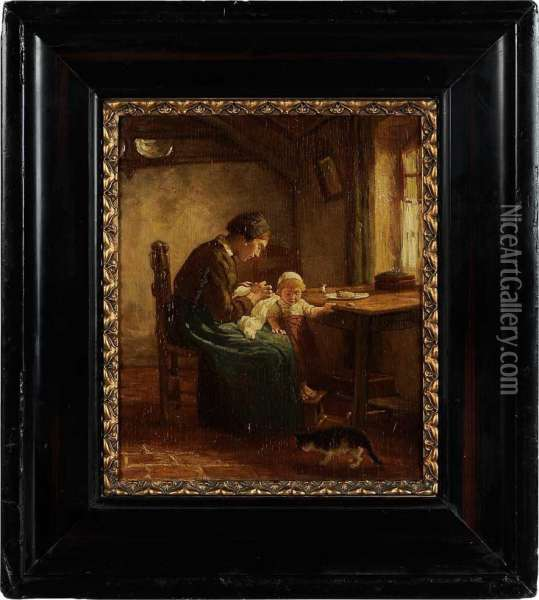 Woman Sewing At A Window Oil Painting - Bernardus Johannes Blommers