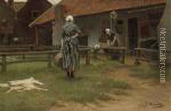 Washing Day Oil Painting - Bernardus Johannes Blommers