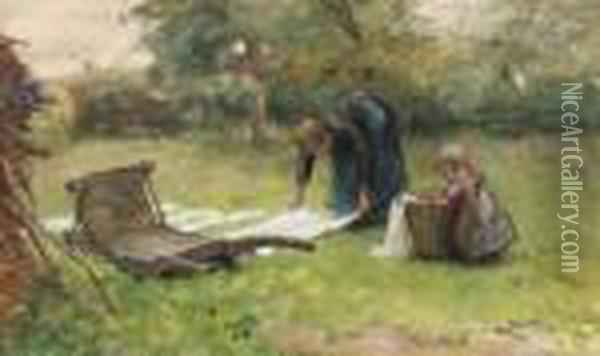 Helping Mother Doing The Laundry Oil Painting - Bernardus Johannes Blommers