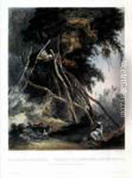 Tombs Of Assiniboin Indians On Trees Oil Painting - Karl Bodmer