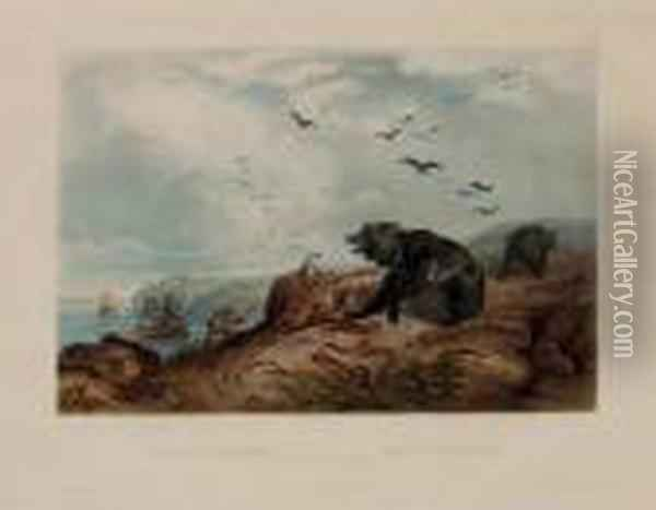 Hunting Of The Grizzly Bear, From Oil Painting - Karl Bodmer