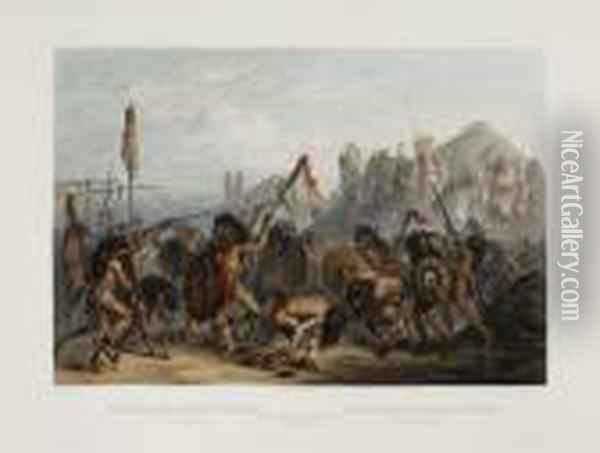 Bison-dance Of The Mandan Indians.tab. 18. Oil Painting - Karl Bodmer