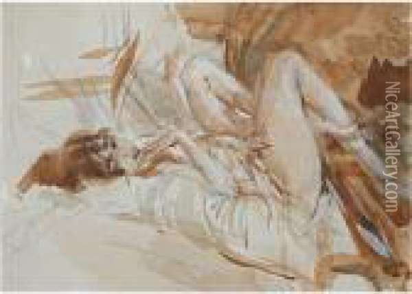 Reclining Lady Oil Painting - Giovanni Boldini