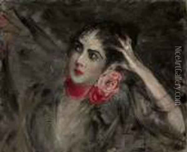 Princess Radziwill With A Red Ribbon Around Her Neck Oil Painting - Giovanni Boldini