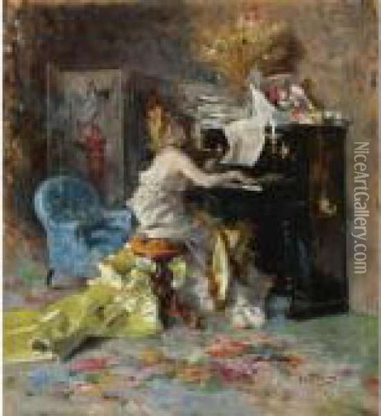 Signora Al Pianoforte (woman At A Piano) Oil Painting - Giovanni Boldini