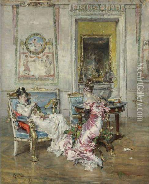 Ladies Of The First Empire Oil Painting - Giovanni Boldini