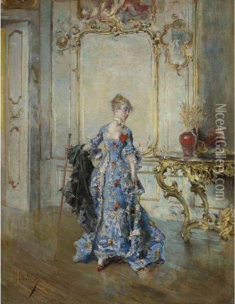 The Last Glance In The Mirror Oil Painting - Giovanni Boldini