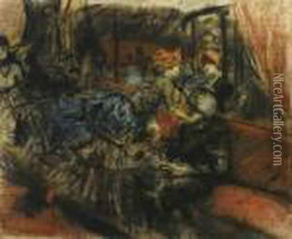 Interno Al Moulin Rouge: The Moulin Rouge Oil Painting - Giovanni Boldini