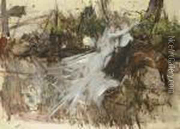 Sogno Di Una Notte Di Mezza Estate: A Midsummer Night's Dream Oil Painting - Giovanni Boldini