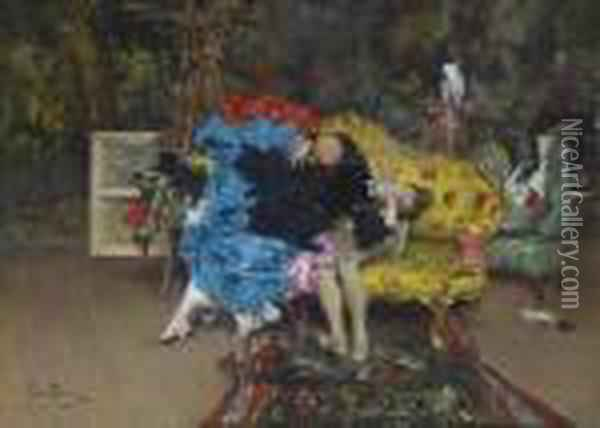 The Model And Mannequin - Berthe In The Studio Oil Painting - Giovanni Boldini