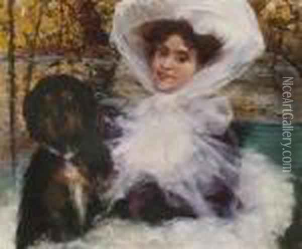 Junge Dame Mit Hund. Oil Painting - Giovanni Boldini