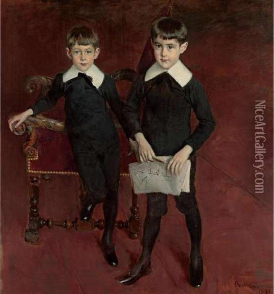 Portrait Of Luis And Pedro Subercaseaux Oil Painting - Giovanni Boldini