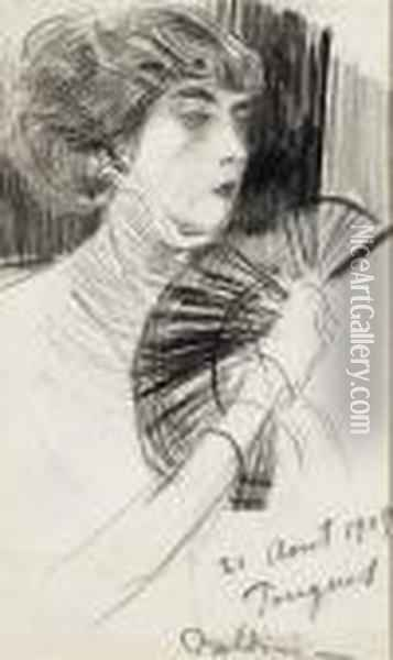A Woman With A Fan Oil Painting - Giovanni Boldini