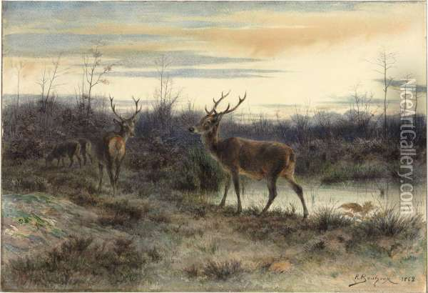 Deers In The Forest At Fontainebleau Oil Painting - Rosa Bonheur