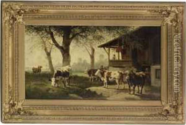 Herding Cattle By A House Oil Painting - Rosa Bonheur