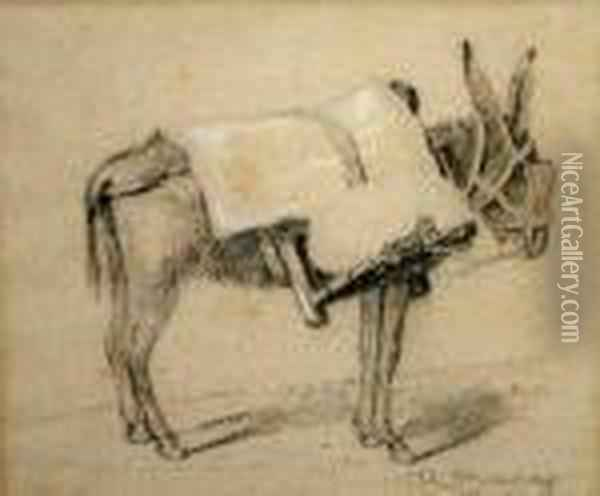 Study Of A Laden Donkey Oil Painting - Rosa Bonheur