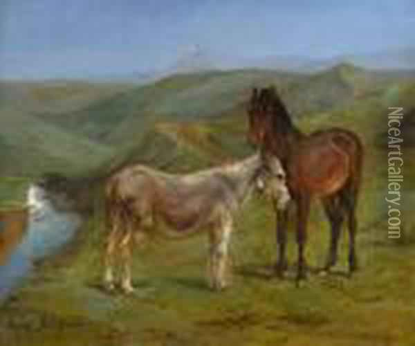 Pony And A Donkey In A Hilly Landscape Oil Painting - Rosa Bonheur