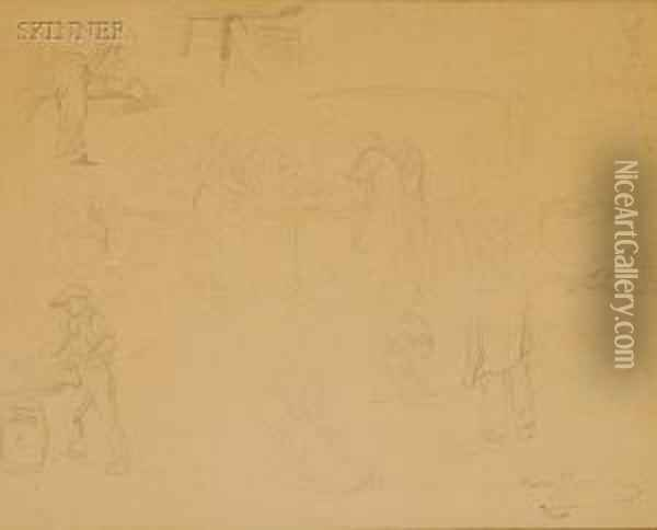 Lot Ofthree Sketches Oil Painting - Rosa Bonheur