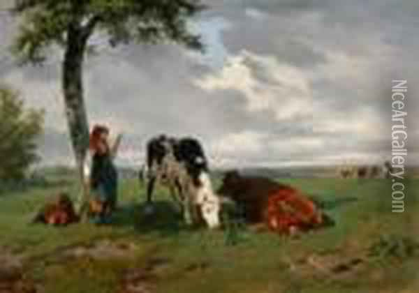 Shepherdess And Two Cows In A Meadow Oil Painting - Rosa Bonheur