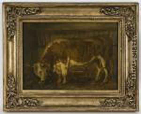 Depicting A Steer At The Feeding Trough Oil Painting - Rosa Bonheur