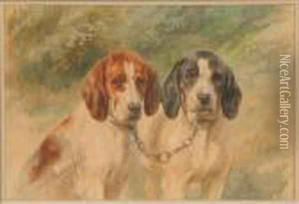 A Pair Of Tame Hunting Dogs Oil Painting - Rosa Bonheur