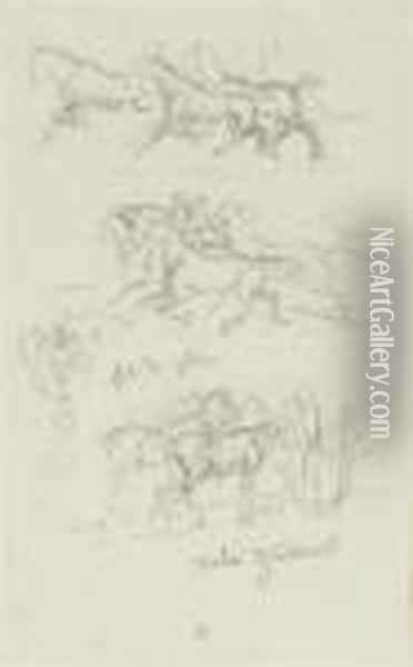Two Sheets Of Studies Of Horses And Sheep (recto And Verso) Oil Painting - Rosa Bonheur