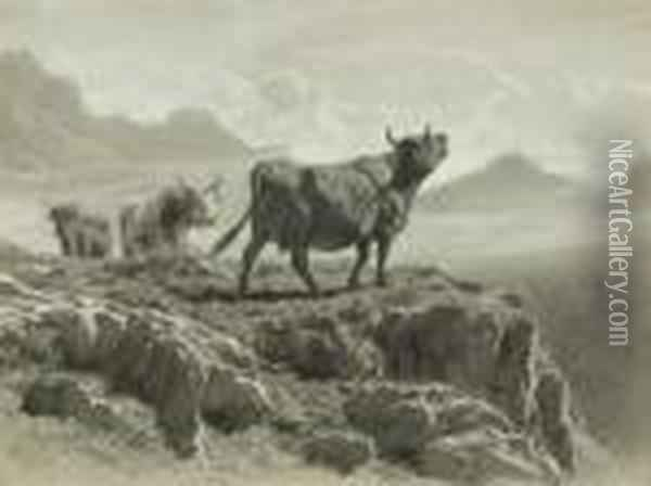 Cattle In The Highlands Greeting The Dawn Oil Painting - Rosa Bonheur