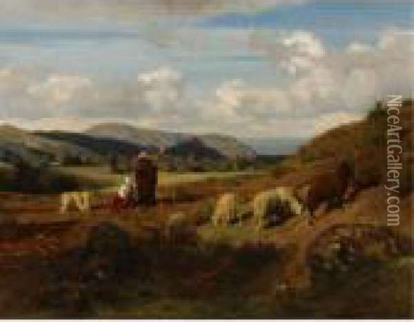 Shepherds And Their Flock Oil Painting - Rosa Bonheur
