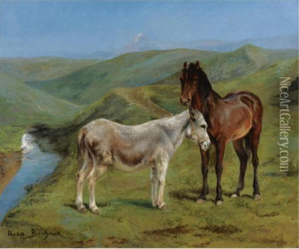 A Pony And A Donkey In A Mountain Landscape Oil Painting - Rosa Bonheur