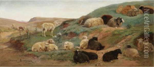 Sheep In A Mountainous Landscape Oil Painting - Rosa Bonheur