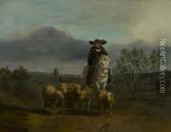 A Shepard And His Flock. Oil Painting - Rosa Bonheur