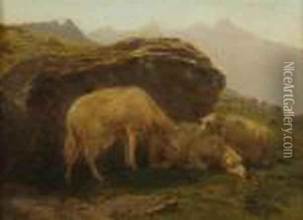 Sheep On A Hillside Oil Painting - Rosa Bonheur
