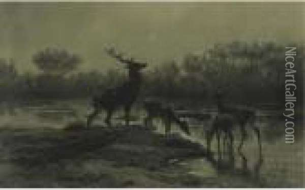 Deer Drinking By A Moonlit Lake Oil Painting - Rosa Bonheur
