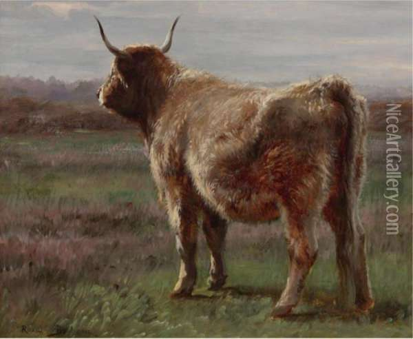 A Longhorned Wooly Cow Seen From Behind Oil Painting - Rosa Bonheur