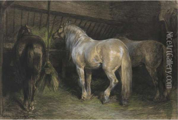 Horses Eating Hay In A Stable Oil Painting - Rosa Bonheur